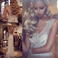 Luxurious V Neck Sleeveless with Beading New Fashion Plus Size Beach Wedding Dresses 2015 Crystal