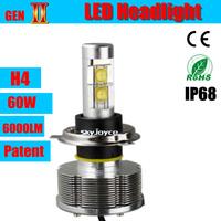 6X auto led headlight H4 hi lo spot &flood beam led auto parking headlamp bulbs Accessories ETI chips H4 high low auto led 6500K
