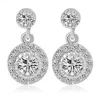 2015 new cute round drop earrings for girls cute  earrings fashion statement jewelry for women crystal earrings