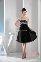Slim black short paragraph prom dress.