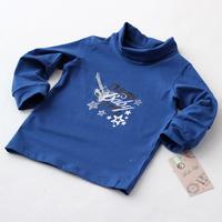 Baby Boys Turtleneck T shirt Blue Autumn New Organic Cotton Long Sleeve Kids Fashion Organic Cotton Brand Clothing 4pcs/lot