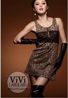 2015 New hot Fashion Women Summer Sexy Casual Sleeveless Mini Dress Round Collar Leopard Pleated Hollow Back Dress Women Dress