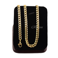1 Piece Only Men's Women's 5mm Gold Stainless Steel Curb Chains Necklace 45cm-91cm Long Hot