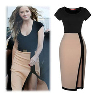 2015 Spring New Women Elegant Patchwork Slit Pencil Sexy Package Hip Tight Dress Casual Party Long  Dress Vestido