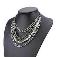 tassel chain necklace brand rhinestone link chain pearl necklace multilayer chain necklace new design