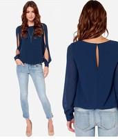 Autumn New Europe and America fashion women Long-sleeved  Chiffon Shirt casual Pure color all-match Shirt