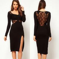 2014 commuting long long sleeve split ends knitted waist shoulder high elastic lace dress dresses