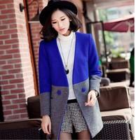 L-4Xl High Quality Women's Wool Coat Winter V-neck Blue Contrast Color Long Woolen Outerwear Women Wool Blends Plus Size XXXXL