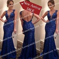 New Fashion Design Latest Design Solid Color Blue Sexy Deep V Neck Sleeveless Spaghetti Strap Backless Long Dress Evening Dress