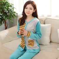 autumn and winter pajamas women sleepwear nightwear ladies pijamas femininos stripes cotton cardigan casual lounge sleep set