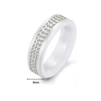 Wholesale Price Hot Sale Luxury 3 Line Shiny Clear Crystal White Ceramic Ring