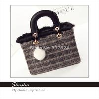 Hot new famous designers D brand women rabbit fur handbags feather messenger bags girls shoulder bag cell phone purses bolsas