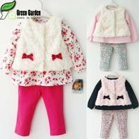 2015 New Baby Girls Clothing Set Spring&Autumn&Winter Children Clothing Set Tops+Pans+Vest Kids Clothes Meninas Vestir C20