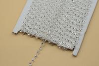 free shipment  4mm Crystal Rhinestone beads Banding Single Row clear Setting 10 yard  dresses Decoration sewing accessoriesrd
