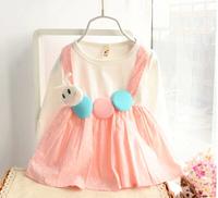2015 Free Shipping Fashion Spring Girls Children Cute Ruffles Dress for Baby kids Animal Design Cotton Dress Baby Girl Dress