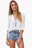 2015 European Style Women  Chiffon Shirt  Turn-down Collar Slim Long Sleeve SolidSpring Autumn Casual Loose  Tops Blouse CL2403