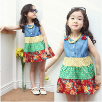 Summer Girl Sleeveless Color Splicing Dress party Birthday Gift Dress Baby Girls Dress Denim Printing One-piece Dress