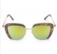 T14122405, Tianluse, 1Pair/lot, New Vintage Sunblock Metal Frame Lepoard Lens UV Proof Unisex Sunglasses , Free Shipping