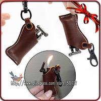 Cigarette Smoking Pipe Lighter With Cylinder Flint Wheel+ Geninue Leather Case Bag Pouch Belt Hook