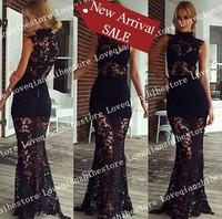 2015 New Fashion Design Turtleneck Stylish Shot Sleeve Lace Dress For Women Hot Sale Solid Color Floor Length Evening Dress