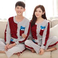 Autumn and winter stripe cotton lovers fashion sleepwear couple pajamas women nightwear sleep lounge sports home clothing set