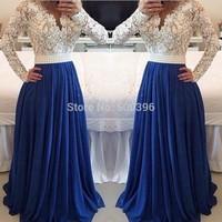White Lace Blue Chiffon A line Prom Dress 2015 Long Sleeve Evening Gowns vestidos de festa Sexy V Neck Formal Dress