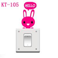 Free Shipping Rabbit Switch sticker,wall stickers Removable Cute Lovely Cat Switch Wall Sticker Vinyl Decal Home Decor KT-105