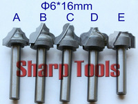 5pcs A,B,C,D,E  6x16MM- End Mill Engraving 3D Bits CNC Wood Cutter, Chamfering Carbide Cutters Router Bit Woodworking Tool Set
