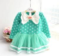 2015 Free Shipping Fashion Spring Girls Children 0-2T Cute Bow Dress for Baby kids Polka Dot Cotton Dress Baby Girl Dress