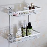 Space AluminumToilet Bathroom Double Storage Racks Shelving Washroom Accessories Cosmtic Shelf Quality free shipping