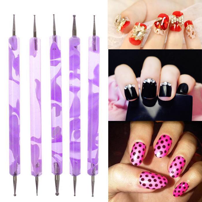 1Set 2Pcs Duble End 2 Way Dotting Pen Acrylic Nail Art Brushes Pen Nail Brush Liner