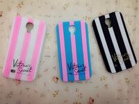 Victoria/ Style Luxe Soft Rubber Stripe Secret PINK Vertical Stripe Case for Samsung Galaxy S4 i9500