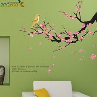 high quality art plum blossom wall sticker living room decoration winter sweet home decors zooyoo608 45*60 dedroom pvc wall art
