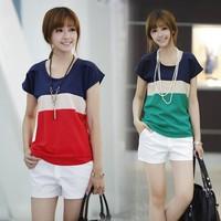 2014 o-neck plus size color block shirt decoration loose chiffon blouse short-sleeve women fashion summer tops for women B-2069