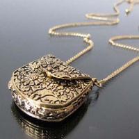 New Women Magic Vintage Unique Bag Box Shape Carved Locket Pendant Long Chain Necklace