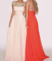 new scoop neckline crystal beads short sleeves evening dresses gowns floor length chiffon long prom dress abendkleider 2015