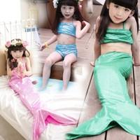 2015  new arrival girls summer mermaid swimsuit children soild swimwear pink blue green 1106