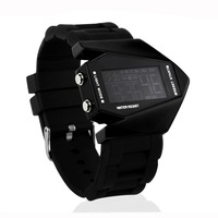 5ATM Waterproof airplane shaped dial LED Watch Sports Wrist Watch with Silicone Strap, LED Colorful Light