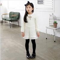 2015 Baby Girls Spring White Lace Long Sleeve Dress, Children Elegant Clothing, 5 pcslot, Wholesale, Free Shipping
