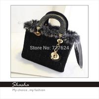 Fashion famous designers brand D women rabbit fur handbags feather messenger bags girls shoulder bag black phone purses bolsas
