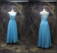 Actual Pictures! New Arrival Evening Dress Stock 2014 Blue Charming Elegant Chiffon Appliques Long Evening Dresses for Party