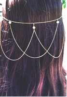 FREE SHIPPING New Style HE43 Unique Design Women Gold Chain Imitation White Pearls Head Chains Jewelry 2 colors