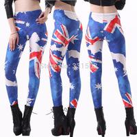 2015 Europe Austrilia Flag Print Women Leggings Fashion Sexy Pencil Trousers Leggings Skinny Jeggings Fitness Sport Leggin