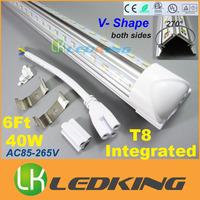 Integrated T8 LED Tube V Shape both sides Light tube 40W 6FT 6 feet 1.8m for cooler door LED fluorescent lights AC85-265V