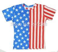 2015 New high quality Women's Men's Short Sleeve T shirt Fashion USA Flag  3D t shirt S M L XL XXL
