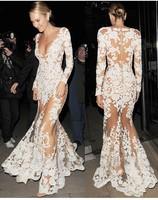 Wholesale 2014 Top Quality Women sexy white v neck long sleeve long lace dress party dress celebrity dresses