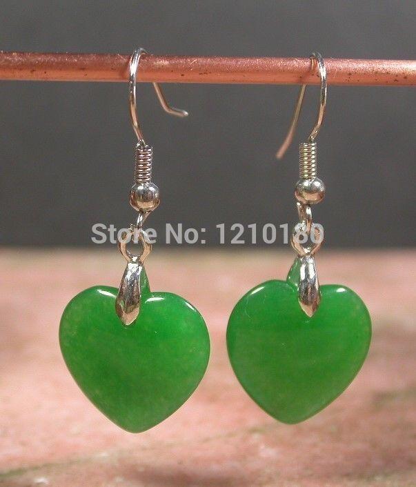 Wholesale gold plate China emerald earrings earrings swing love heart(China (Mainland))