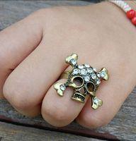 Fashion Men's Punk Style Biker Gothic Rhinestone Skeleton Skull Head Knuckle Golden ring 86306