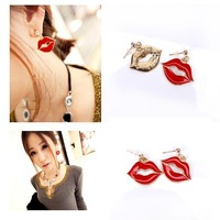 1 Pair fashion big Red Lip drop earring rhinestone sexy mouth earring metal alloy novelty eardrop jewelry 86311