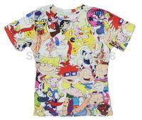 2015 New high quality Women's Men's Short Sleeve T shirt Fashion 80's Cartoon 3D t shirt S M L XL XXL